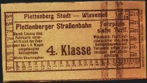 Fahrkarte der Plettenberger Kleinbahn