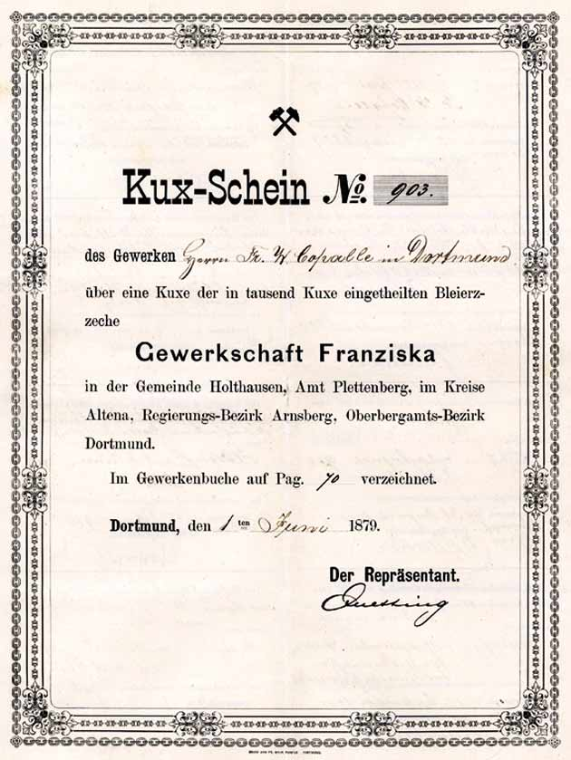 Kuxschein Grube Franziska
