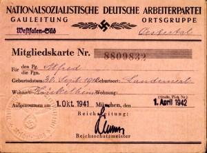 NSDAP-Ausweis Oestertal
